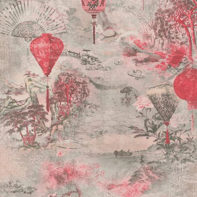 Asian Fusion Lanterns Wallpaper Pink AS Creation 37466-2