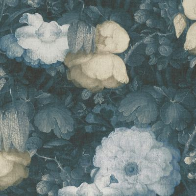 Anke & Daan Amsterdam Linen Floral Wallpaper Blue AS Creation 36921-3