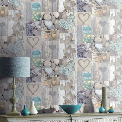 Rustic Heart Wallpaper - Natural - 669600 Arthouse | Feature