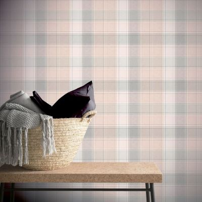 Arthouse Country Check Wallpaper Pink 901900