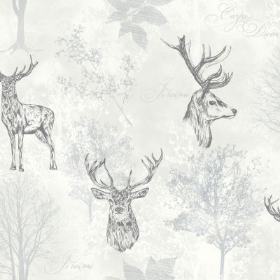 Portfolio Highland Stag Wallpaper Rasch  Teal / Grey 219241