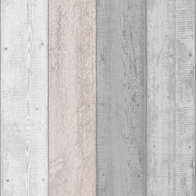 Painted Wood Wallpaper Grey / Blush Arthouse 902809