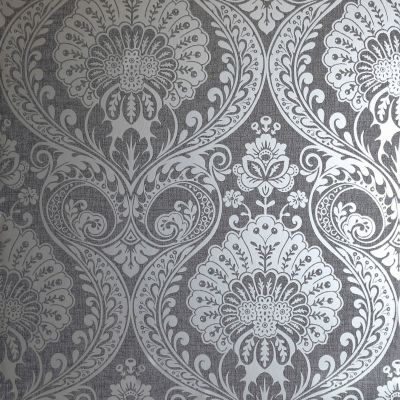 Arthouse Luxe Ogee Wallpaper Gunmetal Silver 910202