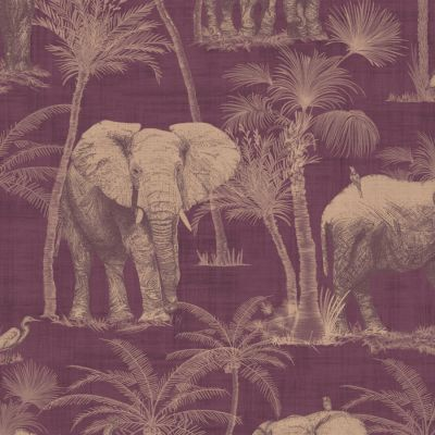 Journeys Elephant Grove Wallpaper Aubergine Arthouse 610701