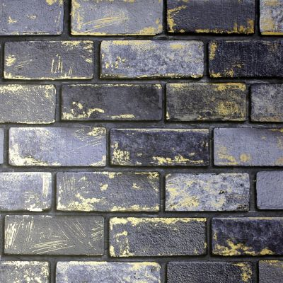 Metallic Brick Wallpaper Navy / Gold Arthouse 692200