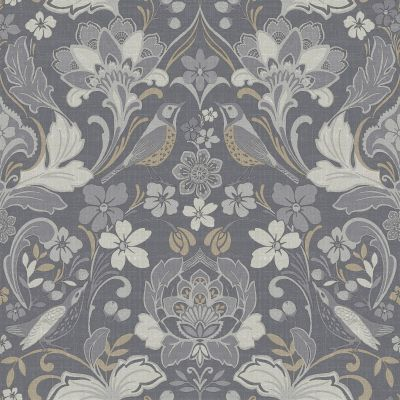 Folk Floral Wallpaper Grey Arthouse 676003