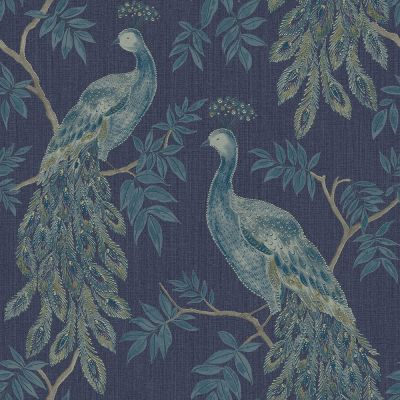 Lazzaro Peacock Vinyl Wallpaper Blue Arthouse 292101