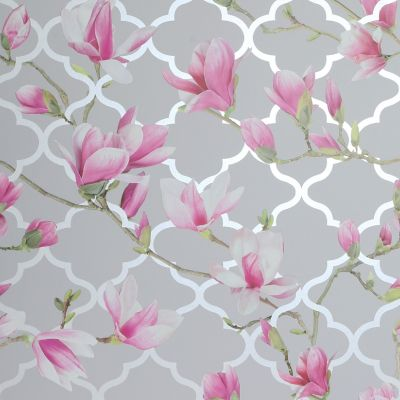 Magnolia Trellis Wallpaper Grey / Pink Arthouse 908000