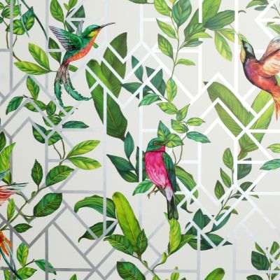 Deco Tropical Wallpaper White / Multi Arthouse 908004