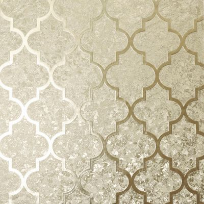 Velvet Foil Trellis Wallpaper Champagne Arthouse 294602