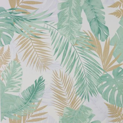 Soft Tropical Palms Wallpaper Green / Gold Arthouse 297204