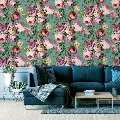Tapestry Floral Wallpaper Teal / Pink Arthouse 297304
