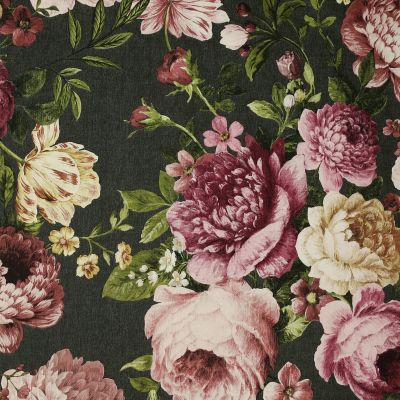 Tapestry Floral Wallpaper Charcoal / Pink Arthouse 297305