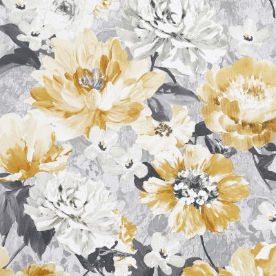 Aubrey Floral Wallpaper Ochre Arthouse 908504