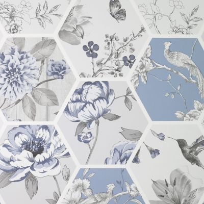 Chinoise Decoupage Wallpaper Blue Arthouse 908903