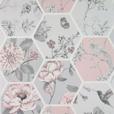 Chinoise Decoupage Wallpaper Pink Arthouse 908904