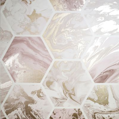 Marbled Hex Wallpaper Pink / Rose Gold Arthouse 908506