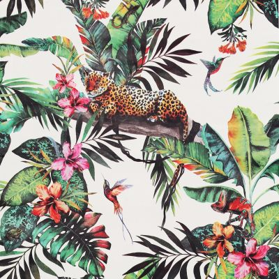 Animal Jungle Tropical Wallpaper White / Multi Arthouse 908505