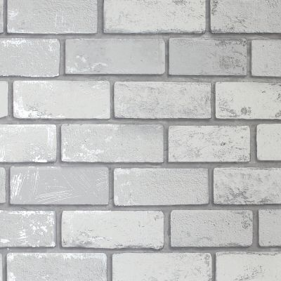 Artistick Metallic Brick Self Adhesive Wallpaper White/Silver Arthouse 300200 6m x 0.53m