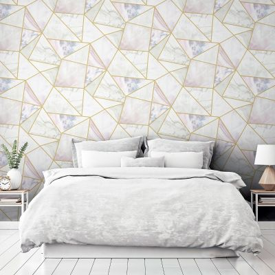 Marble Effect Fragments Multi Colour Geo Self Adhesive Wallpaper Arthouse 300208 Artistick