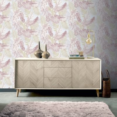 Pink and Gold Tropical Palm Leaf Self Adhesive Wallpaper Arthouse 300212 Artistick