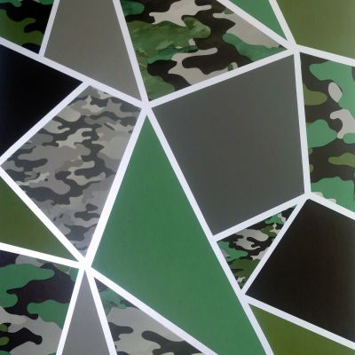 Camo Fragments Wallpaper Green / Grey Arthouse 909709
