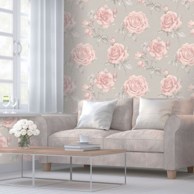 Stella Geometric Floral Wallpaper Blush Pink / Grey Belgravia 9753