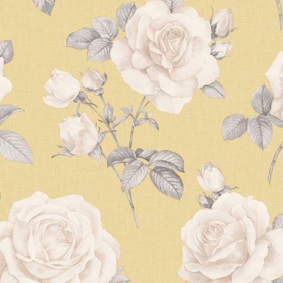 Rosa Floral Wallpaper Charcoal / Cream Belgravia 9767