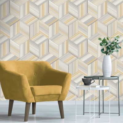 Harper Geometric Wallpaper Yellow / Grey Belgravia 9740