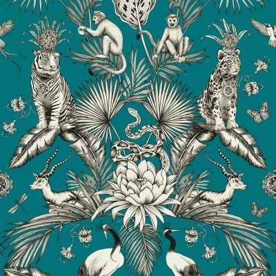 Menagerie Animal Luxe Wallpaper Teal Belgravia 2004