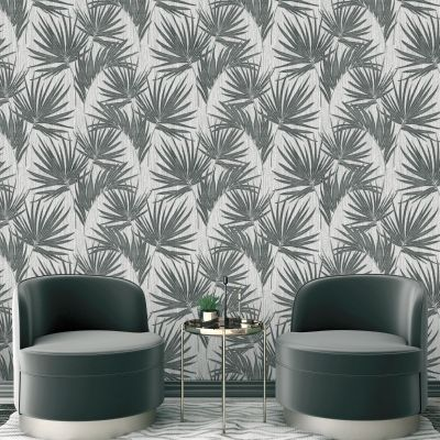 Aurora Palm Wallpaper Gunmetal Belgravia 4992