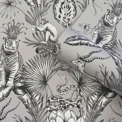 Menagerie Animal Luxe Wallpaper Grey Belgravia 2005