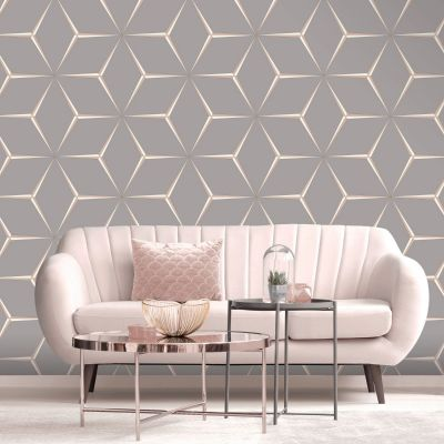 Harper Geometric Wallpaper Rose Gold / Grey Belgravia 9742