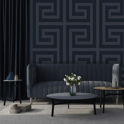 Giorgio Greek Key Wallpaper Navy Belgravia 8110