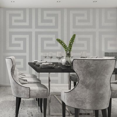 Giorgio Greek Key Wallpaper Soft Silver Belgravia 8109