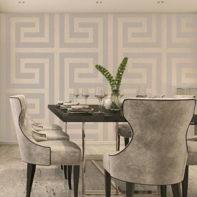 Giorgio Greek Key Wallpaper Beige Belgravia 8108