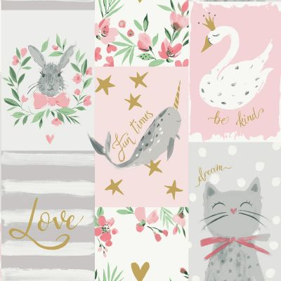 Be Kind Collage Wallpaper Blush Pink Belgravia 2555