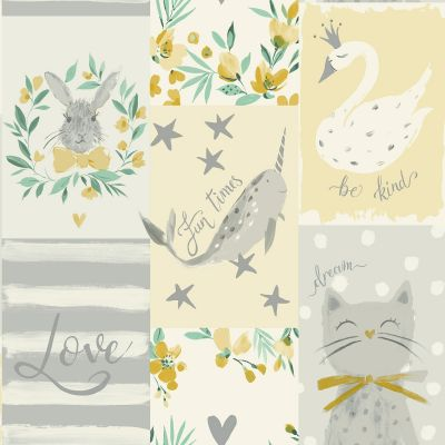 Be Kind Collage Wallpaper Yellow Belgravia 2556