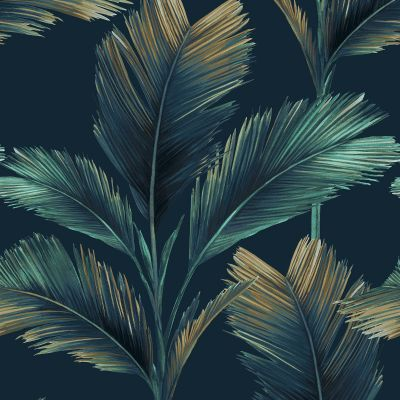 Kailani Leaf Wallpaper Dark Blue Belgravia 59119