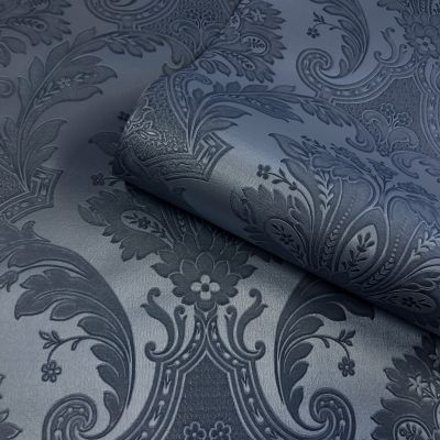 Amara Damask Wallpaper Dark Blue Belgravia 7371
