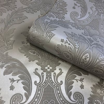 Amara Damask Wallpaper Gunmetal Belgravia 7372