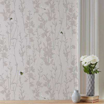Broom and Bee Dusk Wallpaper Grey Lorna Syson BBDW