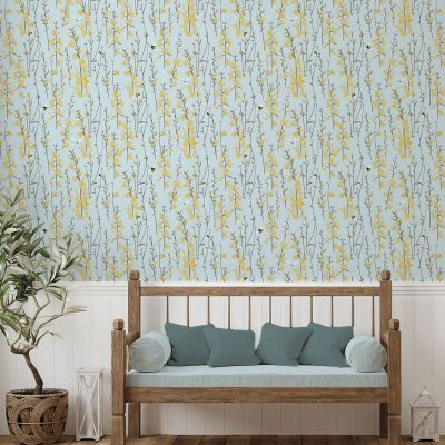 Broom and Bee Dusk Wallpaper Grey Lorna Syson Direct Ship BBDW