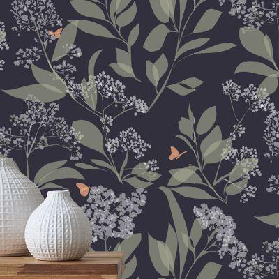 Buds and Butterflies Wallpaper Deep Purple and Blue Lorna Syson BUDW