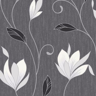 Synergy Floral Glitter Wallpaper Ebony Black Vymura M0783