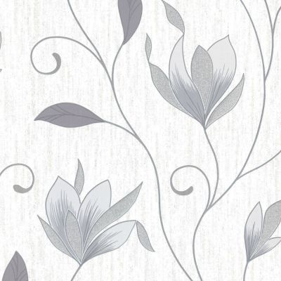 Synergy Floral Glitter Wallpaper Dove Grey Vymura M0852