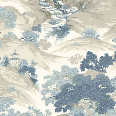 Crown Archives Oriental Landscape Wallpaper China Blue M1190