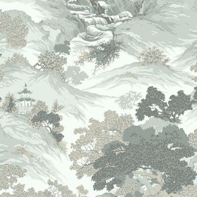 Crown Archives Oriental Landscape Wallpaper Eau De Nil Teal M1191