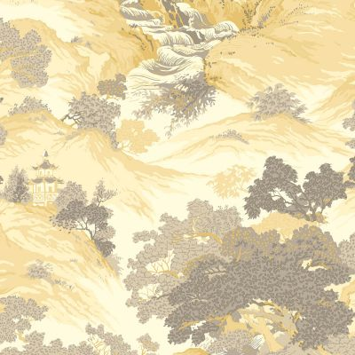 Crown Archives Oriental Landscape Wallpaper Yellow M1192