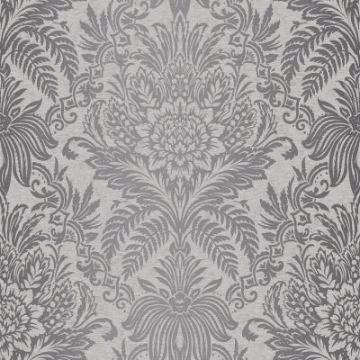 Crown Signature Damask Wallpaper French Grey M1067